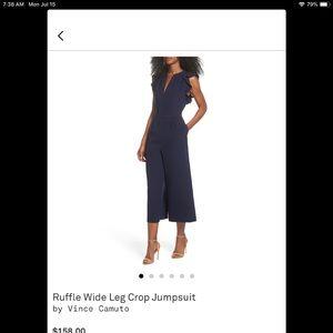 Ruffled wide leg jump suit